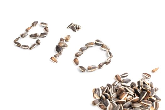 BIO sign in sunflower seed on white background in studio