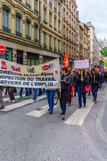 Lyon, France - May 09, 2019: Protestors about teachers and education issues march in the streets of Lyon, France