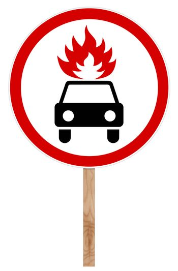 Prohibitory traffic sign - Movement flammable cargo