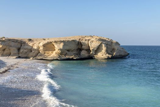 A beach on the wild coast of the Sultanate of Oman