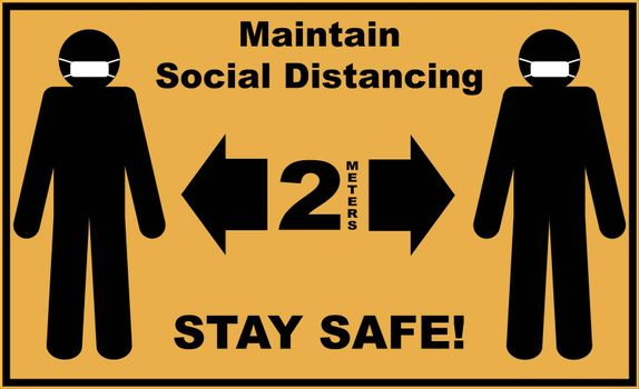 Social distance sign board with two silhouettes of men wearing masks and text asking to maintain 2 meters of social distancing