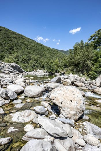 Stream flowing water of Travu River, Corsica, Francer, Corsica, France, Europe