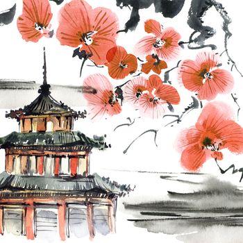 Pagoda and blossom tree