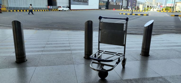 Abandoned and empty bag trolley at International airport of Delhi in June 2020 amidst corona virus pandemic at Indira Gandhi International Airport in Delhi, India