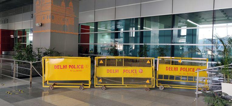 Delhi police barricades on International Arrivals in IGI Airport