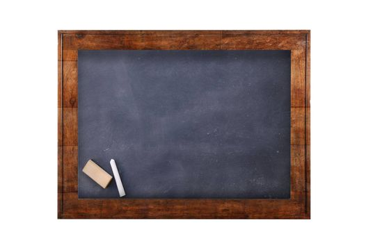 Blackboard with wooden frame against of white isolated 3D illustration