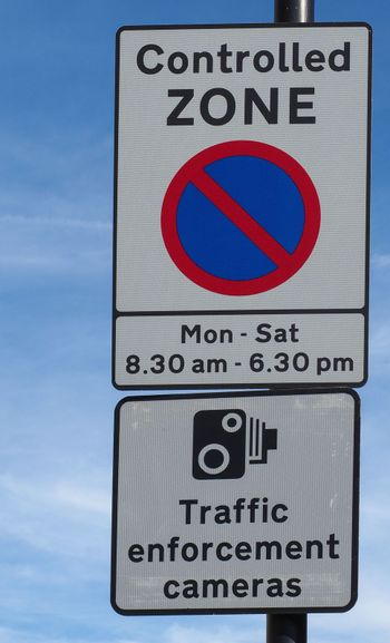 Controlled Zone No Parking Traffic enforcement cameras sign