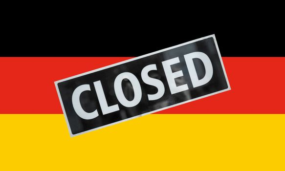 the German national flag of Germany, Europe with closed sign