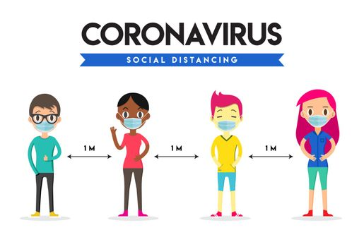 Social Distance, Safety Space  1 meter apart. Social Distancing. Coronavirus.
