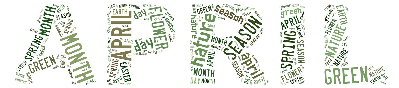 Illustration with word cloud, related with april.