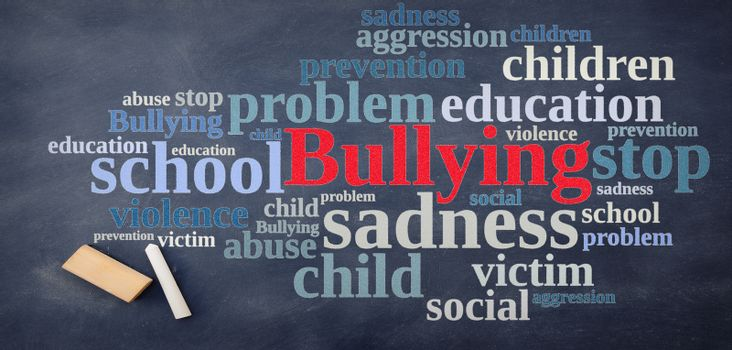 Blackboard with word cloud relating to Bullying.