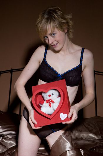 Sexy Woman with Valentine's Bear