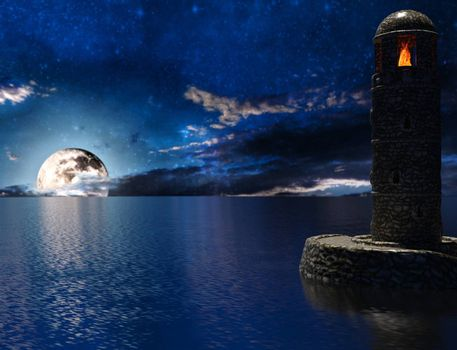 Old lighthouse with fire and moon - 3d rendering
