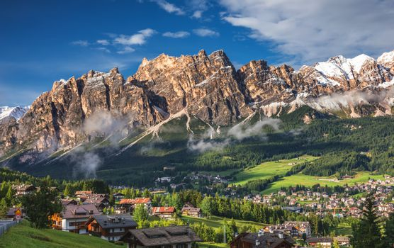View of Cortina D'Ampezzo with Pomagagnon mount in the backgroun