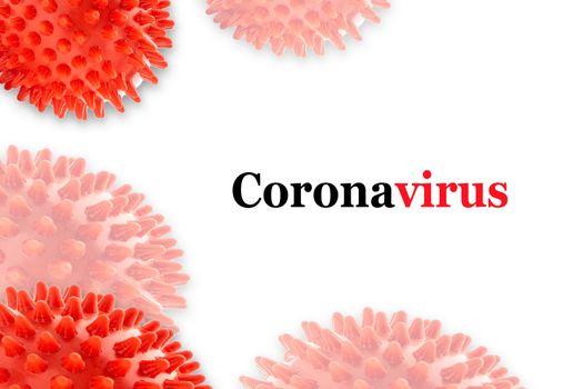 CORONAVIRUS text on white background. Covid-19 or Coronavirus concept