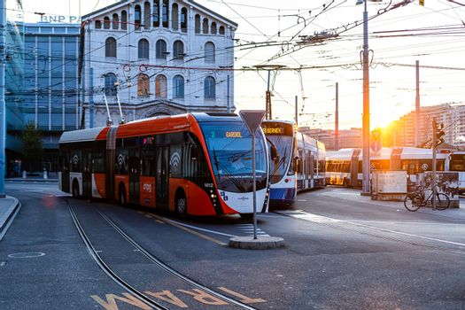 Geneva, Switzerland - April 14, 2019: City view and street transportation in the city center