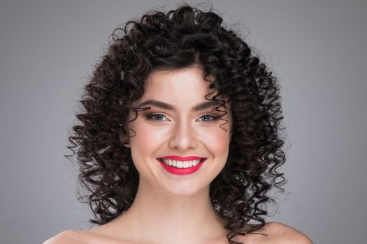 Model girl with curly hair