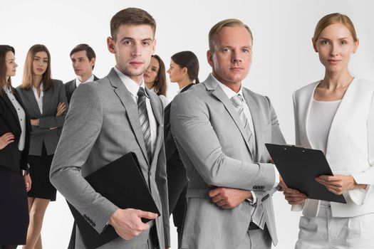 Business people team with contract documents in folders on white background