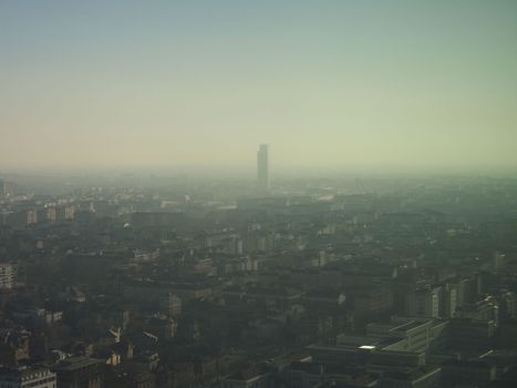 Aerial view of Turin with smog