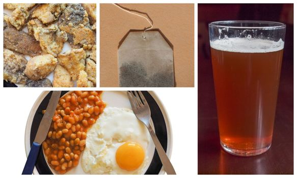 vegetarian English breakfast with baked beans, fried egg, mushrooms, tea and pint of bitter beer