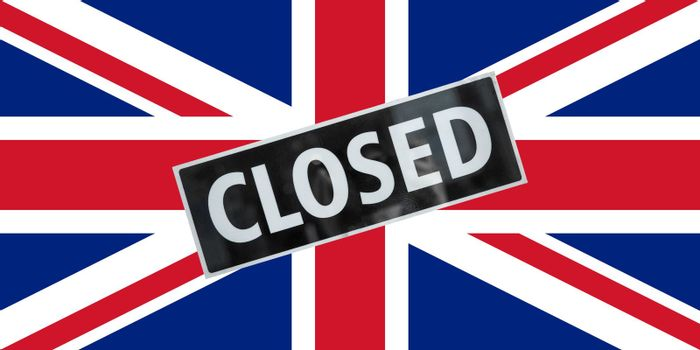 the British national flag of United Kingdom, Europe with closed sign