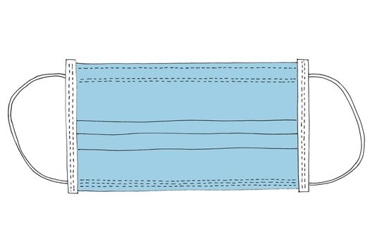 line art surgical mask used to stop spreading infection to protect people from respiratory illnesses including COVID-19