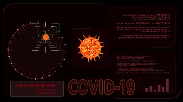 orange color virus covid 19 was detedted by digital radar analysis information to find vaccine and medicine on red screen