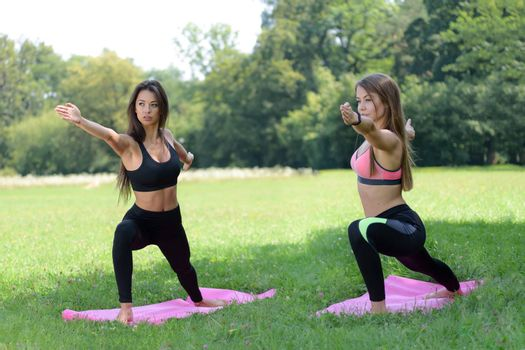 Two beautiful young women doing yoga exercises in the park on a sunny day