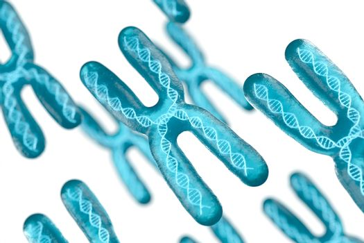 Chromosome with white background, 3d rendering.