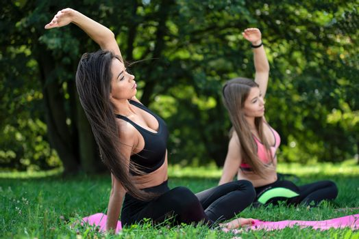 Two beautiful young women doing outdoor yoga exercises in the park on a sunny day