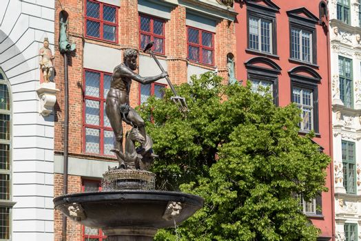 17th century Neptunes Fountain in Gdansk, one of the most distinctive landmarks of the city