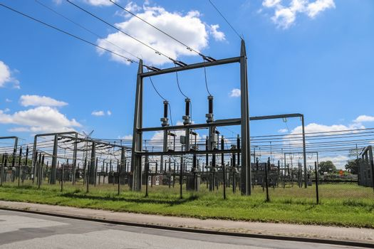 Electrical Transformer. Distribution of electric energy at a big