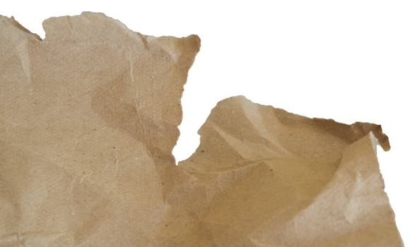 Abstract texture of crumpled brown grey packaging paper, isolated on a white background by clipping.
