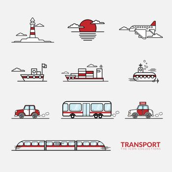 vector of icons for transportation vehicles sign collection set
