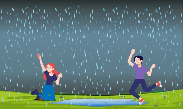friends are dancing in the rain