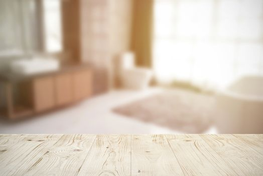 Empty wooden board table top on blur abstract of bathroom interior background, for montage product or display, mock up for display of product