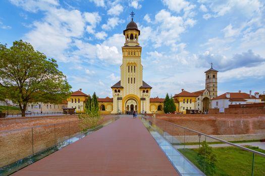 Bell Tower of Coronation Cathedral in Alba Carolina Citadel, Alba Iulia, Romania