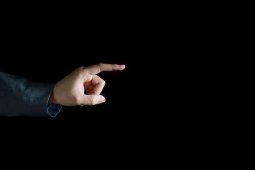Man touching Visual screen with his finger.