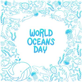 World Oceans Day. outline vector of marine life in the ocean with doodle style for celebration dedicated to help protect, and conserve world oceans, water, ecosystem
