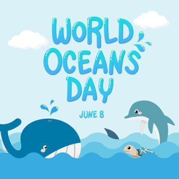 whale , dolphin , shark and turtle in the ocean with text World Oceans Day. vector of marine life for celebration dedicated to help protect, and conserve world oceans, water, ecosystem