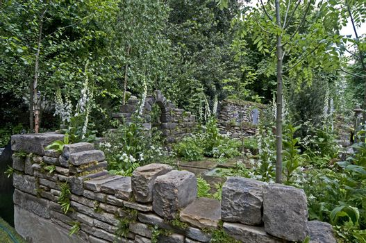 The ruins of an old garden in a neglected space with planting of