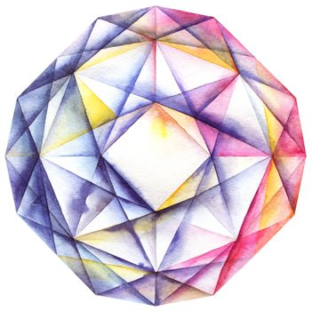 Watercolor diamond crystal