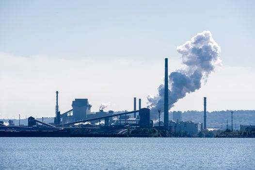 Steam plume released at steel factory near waterfront in Hamilto