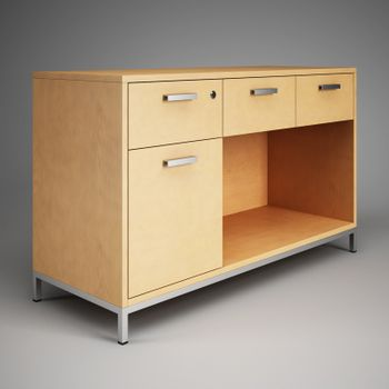 Mobile bedside table with drawers. 3D rendering.