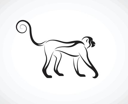 Vector of a monkey design on white background. Wild Animal. Easy editable layered vector illustration.