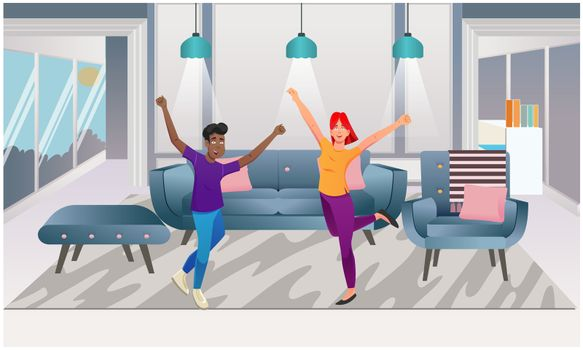 couple is dancing in the room