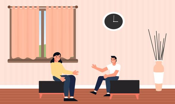 couple is sitting and talking to each other at home