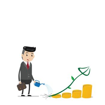 Financial growth success concept with happy businessman watering can pouring on golden coins as step stair start from beginning till success. Business concept for growth success process.