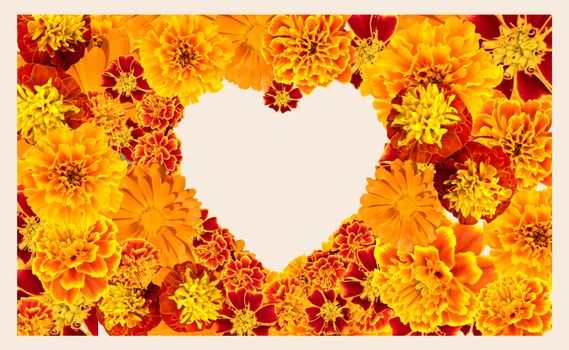 Beautiful floral heart shape frame with Various Yellow, orange color Flowers collection.