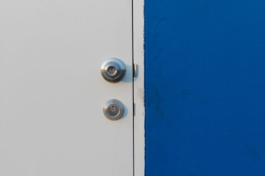 Minimalism style, Blue wall and white door.